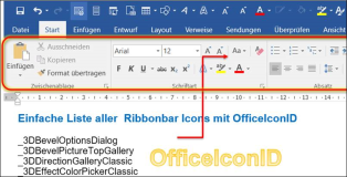 Simple list of all Ribbonbar icons with OfficeIconID