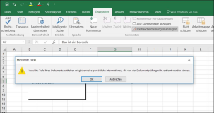 Excel Message: Parts of your document may contain personal information