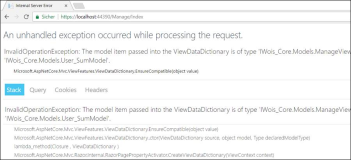 Asp: InvalidOperationException: The model item passed into the ViewDataDictionary is of type