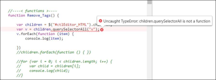 uncaught TypeError childrenSelectorAll is not a function
