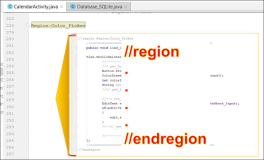 Android java: Code area // region - // endregion
