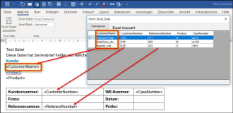 Word Addin: Adds customer data from Excel file to Word file