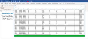 Word Addin: Load Excel file into WPF DataGrid