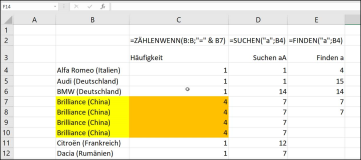 Excel: Find text in a value