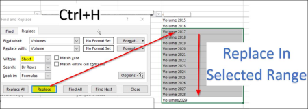 Excel: Replace text in a selected area