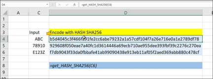 Excel : Encoding values with HASH functions SHA256