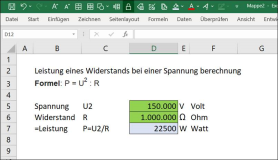 Excel Formula: Calculation Performance of a Resistance at a Voltage