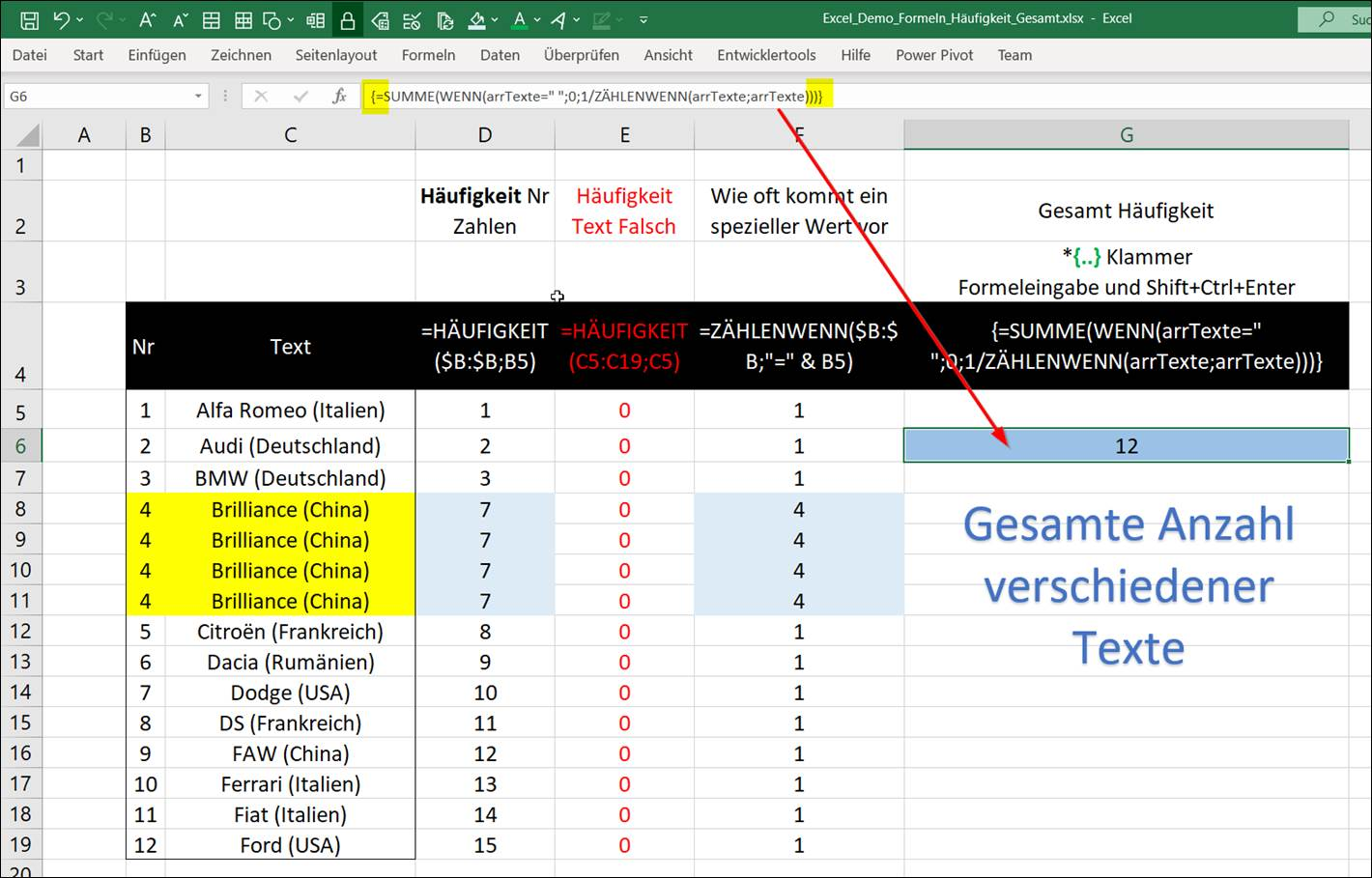 Excel Calculate total statistical frequency number of texts How can ...