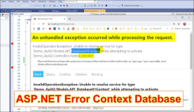 ASP API Error: An unhandled exception occurred while processing the request. Unable to resolve service for type